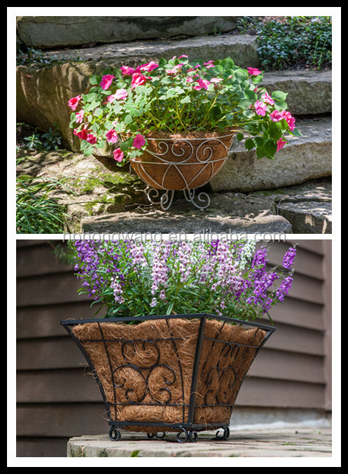Cheap Hanging Baskets With Flowers : Cheap wrought iron hanging basket with coco liner metal
