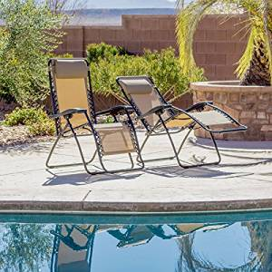 Beige Zero-Gravity Reclining Camping Chairs (Pack of Two)
