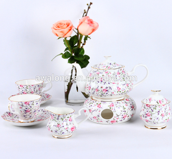 Rose Floral Decal Porcelain Fine Bone China Tea set with teapot tray Heatable