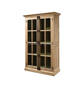 French Country Style Full Floor View Solid Oak Wooden Bookcase