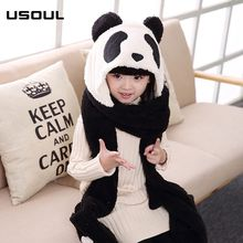 Panda Cartoon Function Autumn And Winter Warm Boys And Girls Baby Scarf Kids Hat Glove Sets
