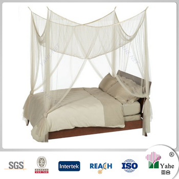 White 4 Poster Bed Canopy Functional Mosquito Netting With Pole For Crib Twin