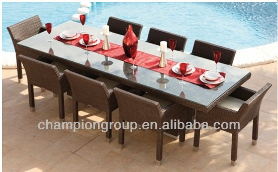 Ar 3058set Big Dining Table 8 Person Chairs With Polyresin Rattan