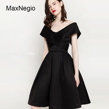 MaxNegio New 2018 Spring Summer Top Quality Ball Gown Black Sleeveless Bubble Skirt Dress Europe Style Retro v-Neck Prom Dresses