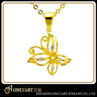 Hollow butterfly silver pendant with AAA CZ custom welcome cnc engraving yellow gold pendant