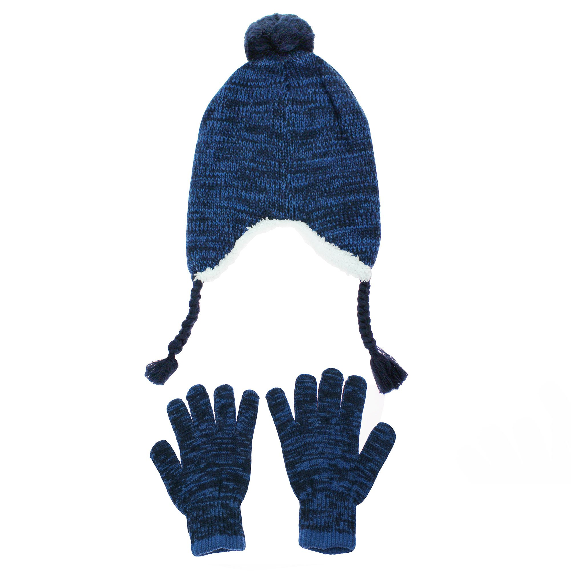 38fa287768dd2 Get Quotations · Nolan Navy Blue Peruvian Boys Winter Hat with Ear Flaps  and Glove Set Youth 4-