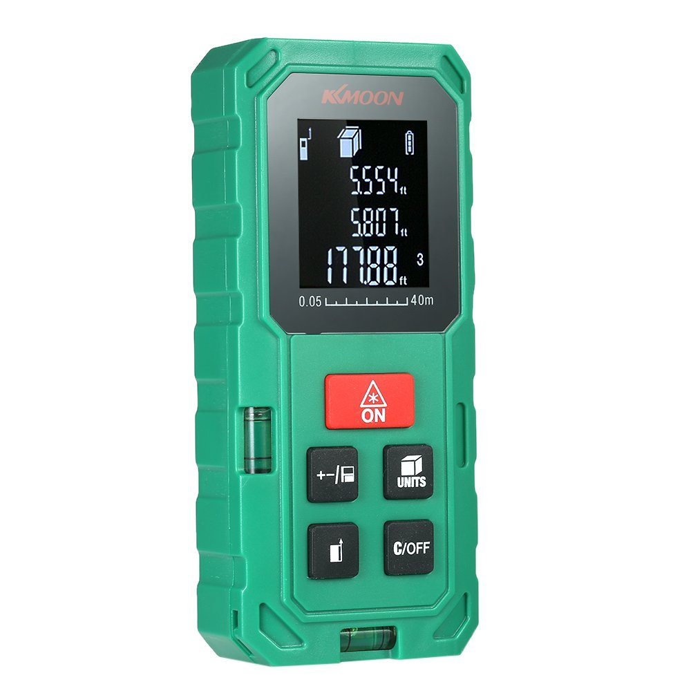KKmoon Portable Handheld Digital Laser Distance Meter 40m/ 60m/ 80m/ 100m High Precision Range Finder Length Area Volume Measurement Data Storage with VTN LCD (Orange / Green)