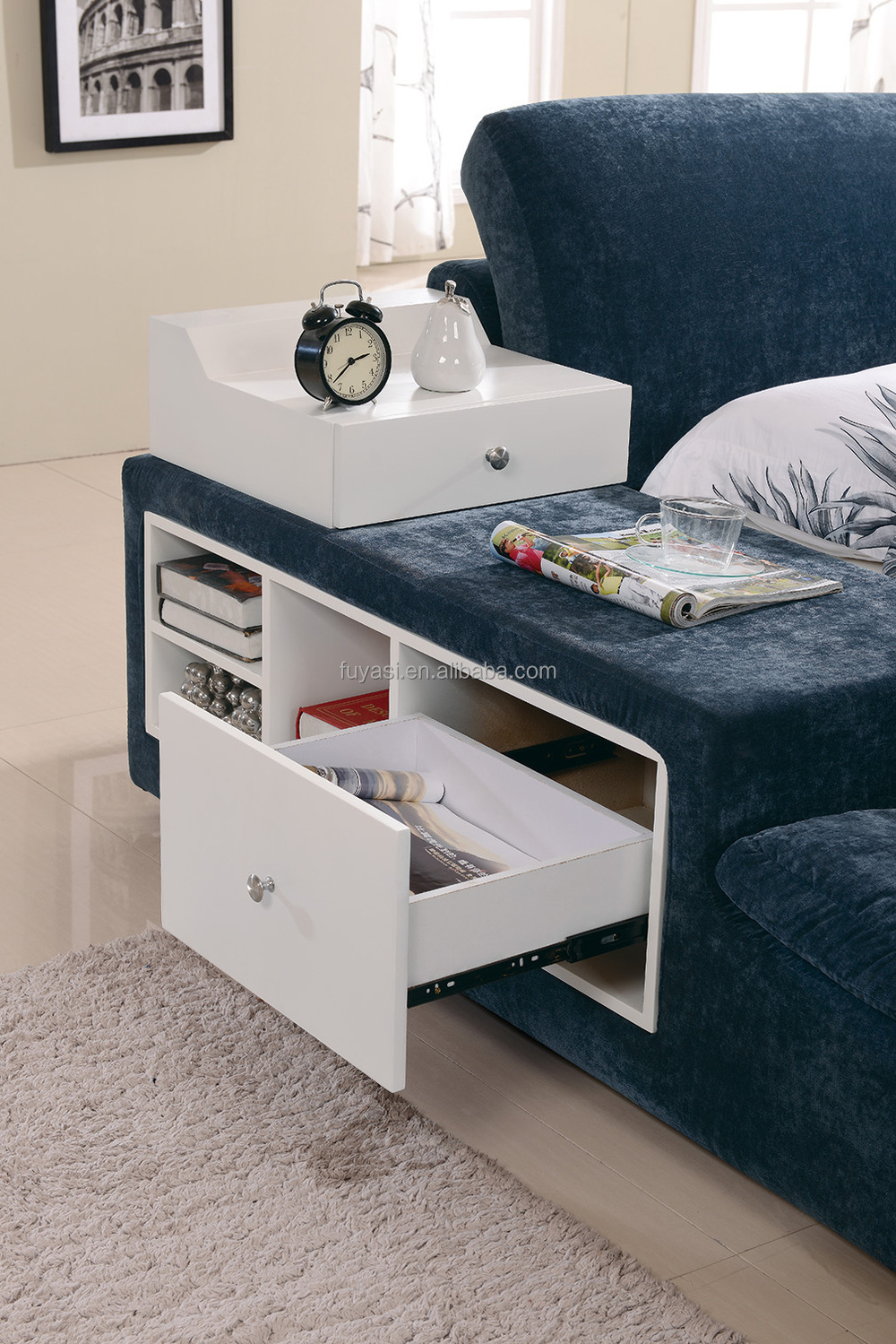 Drawer Bed Modern Bedroom Furniture King Size Night Stand Bedside Table Hotel Loft