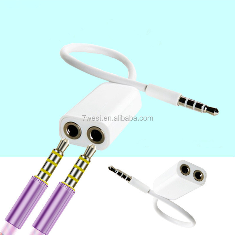 3.5mm 1 Male to 2 Female Audio Cable Y Audio Splitter Cable for Headphone Earphone-white
