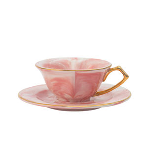 Marble heart shape cup and saucer for Gifts