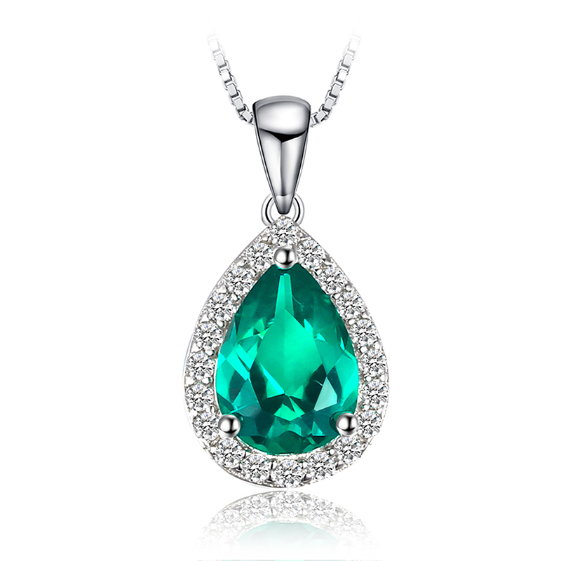 <strong>Fashion</strong> 0.7ct Nano Russian Simulated Emerald Pendant Necklace 925 Sterling Silver JewelryPalace