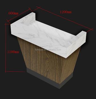 White Corian Countertop With Veneer Cash Counter