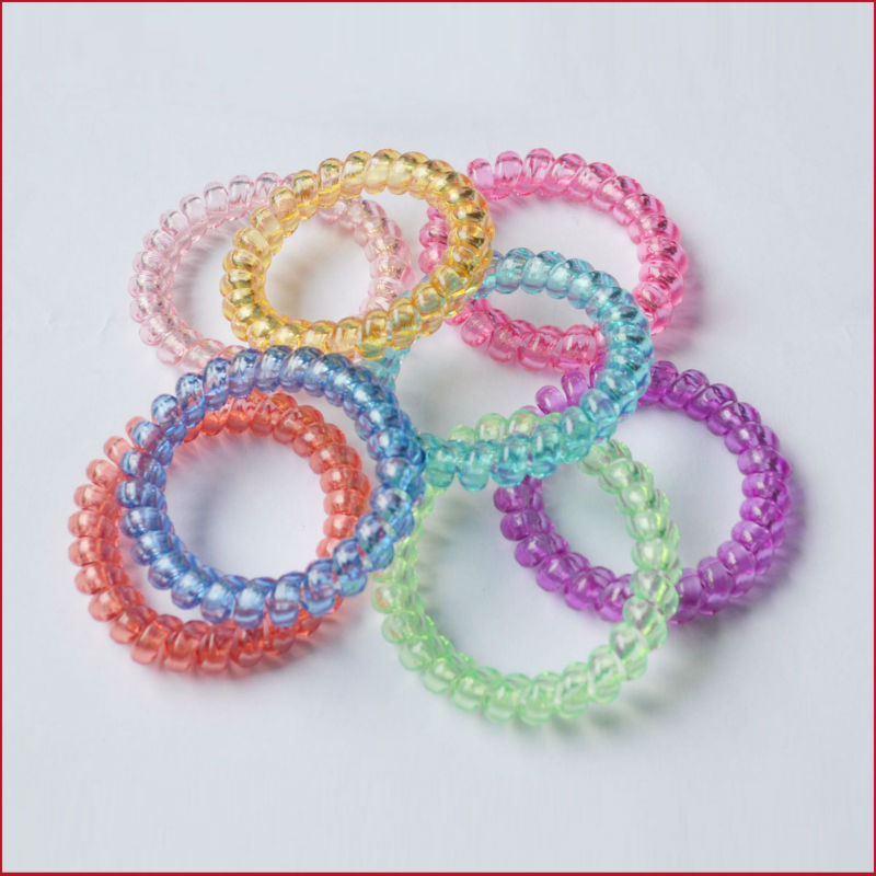 Fashion Elastic Hair Bands Cute Telephone Line Shaped Ties Translucent Plastic Spiral