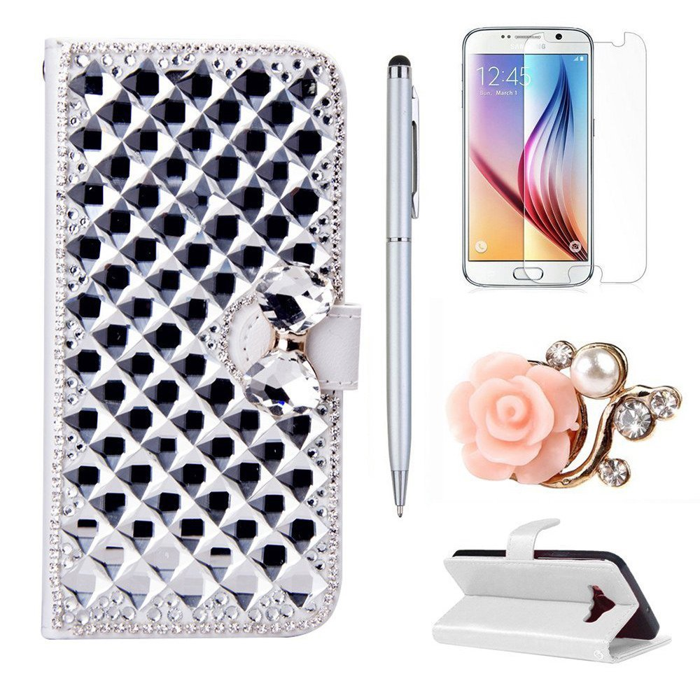 LG Stylus 2 Case, LG G Stylo 2 LS775 Case, Mellonlu 3D Bling Premium Slim PU Leather Flip Wallet Case Cover for LG G Stylo 2 LS775 / Stylus 2, with Free Stylus Pen + Screen Protector + Dust Plug
