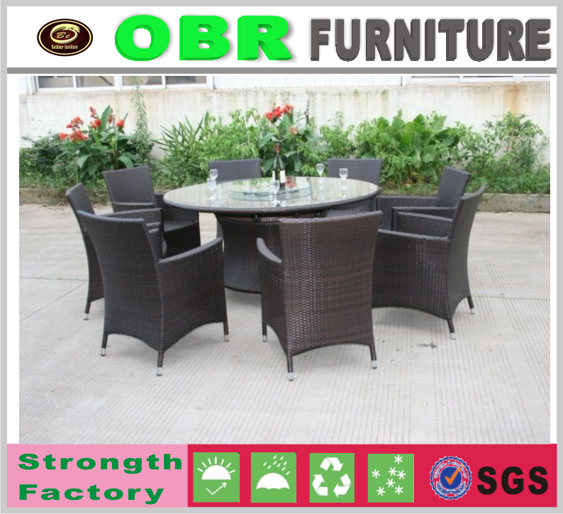 All weather outdoor furniture patio rattan dining table with chair