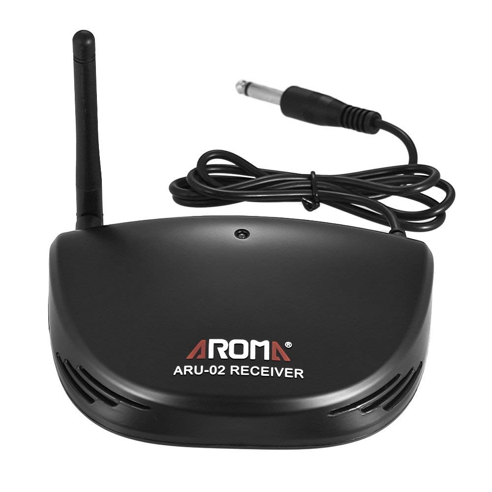 ammoon Aroma ARU-02 Professional Rechargeable UHF Wireless Digital Audio Transmission Transmitter Receiver System with USB Cable for Guitar Bass