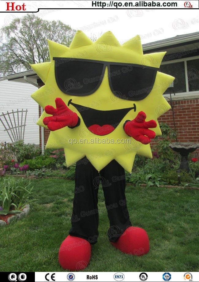 High quality sale vivid cool sun mascot costume for adult