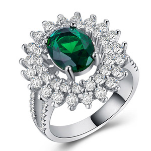 Princess Blue Gem Created Green Crystal Silver Color Wedding Finger Ring for Women