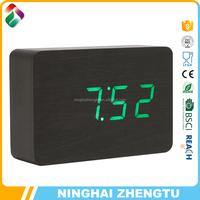 Wooden led digital clock radio with alarm date temperature