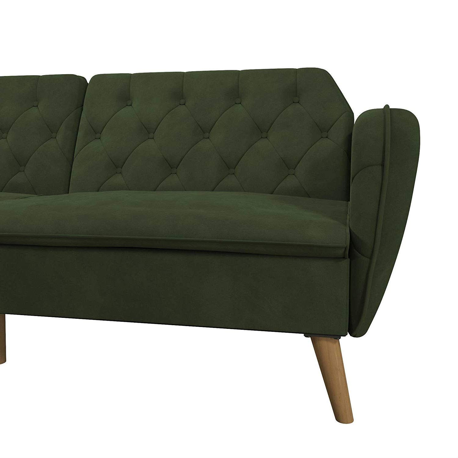 Trustpurchase Memory Foam Futon Sofa Bed with Green Velvet Upholstery and Wood Legs, Brings Elegance and Sophistication w Vintage Silhouette, Rounded Lines Button-Tufted Details Soft Velvet Upholstery