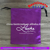 Personalized logo purple drawstring lady jumpsuits packaging pouch satin dust bag for shoe