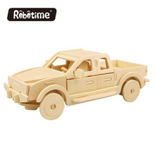 Robotime wooden puzzle toy JP272 Pickup Truck DIY 3D wooden puzzle gift