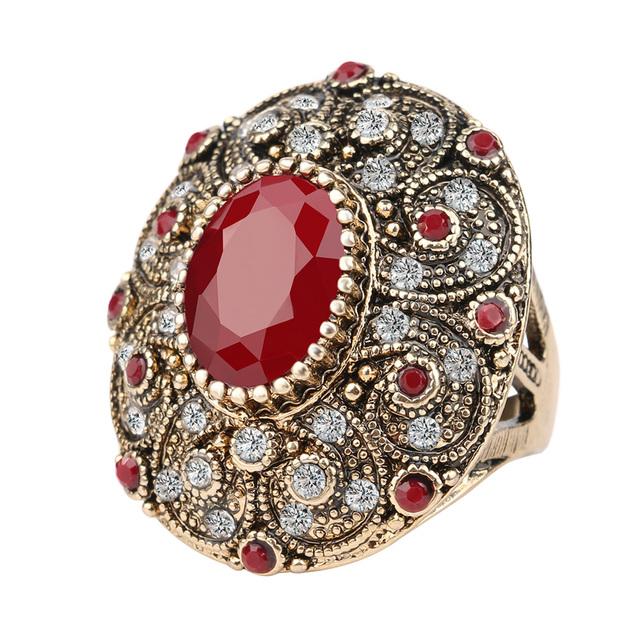 Мода старинные ювелирные изделия кольца уникальный покрытием древняя золото  мозаика ааа кристалл большой овальный рубиновое кольцо cc290f89b1f