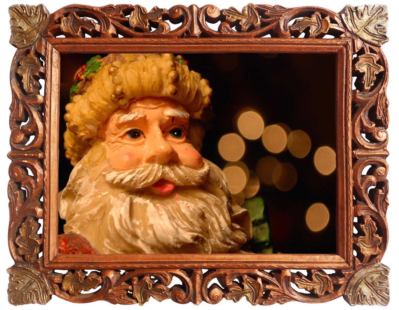 Santa Claus Bust, Poster Framed in Wood Craft Frame, Indian Wood Decorative Frame