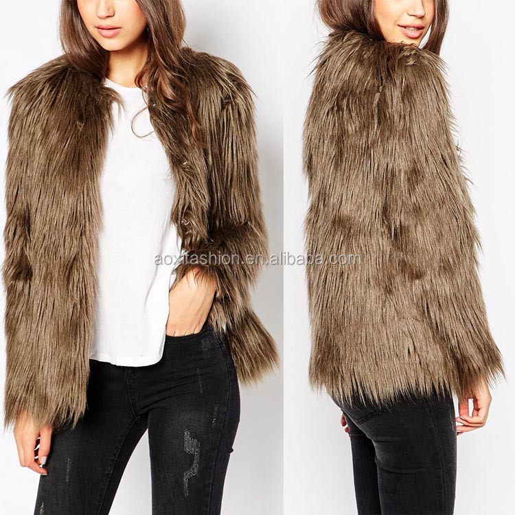 2016 new arrival latest coat design for women winter wear vintage faux fur coat