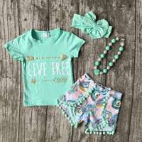 baby Girls Summer clothes girls children LIVE FREE girl outfits kids arrow outfits mint top with shorts with accessories