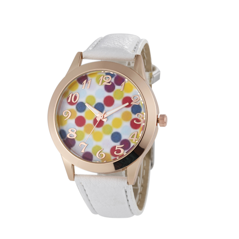 Alibaba Website PU White Leather Simple Watch for Women