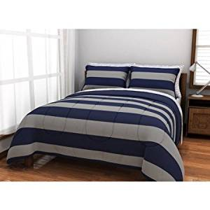 QUEEN Gray & Blue Rugby STRIPE Reversible Comforter bed -in-a-bag Set, comforter sheets shams