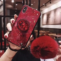 Fast delivery new fashion plush ball hairy shockproof cell phone case for iphone 6 7 8 plus x xs max xr