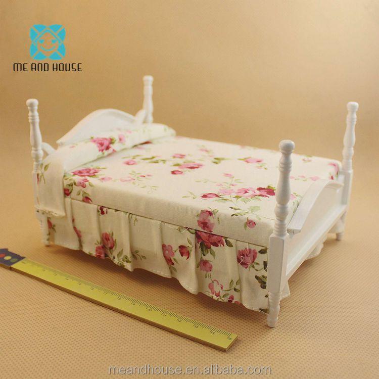 Puppenstuben & -häuser 1:12 Iron Frame Bed Princess Mini Bed Bedroom Furniture Dollhouse Miniatures