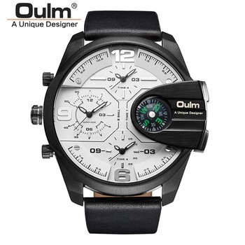 Top Brand Luxury Designer Compass Army Leather Strap Waterproof Sports Dual Display Quartz Military Oulm Watch Relojes Hombre