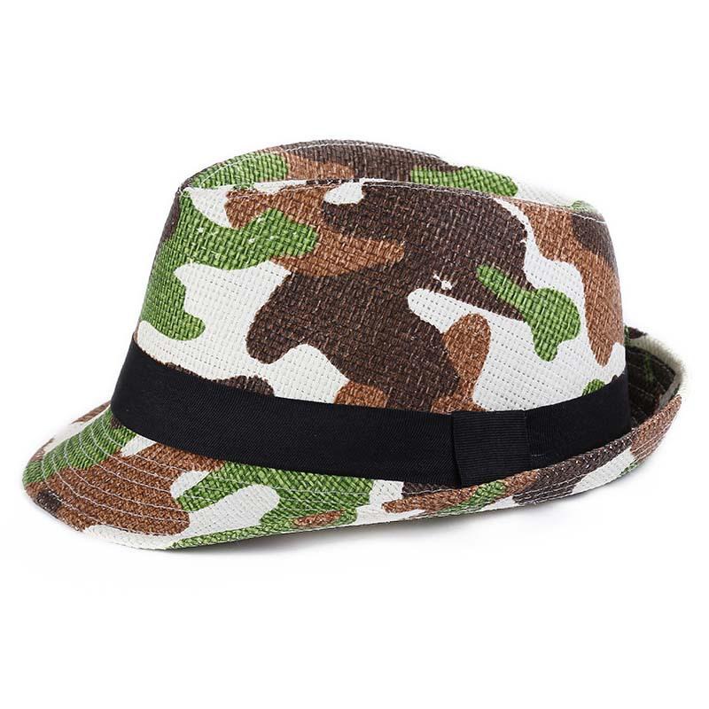 6f45c67cf5afb Get Quotations · Milk Camo Floppy Hat Kids Unisex Fedora Hat Contrast Trim  Cool Jazz Hat Trilby Cap Chapeau