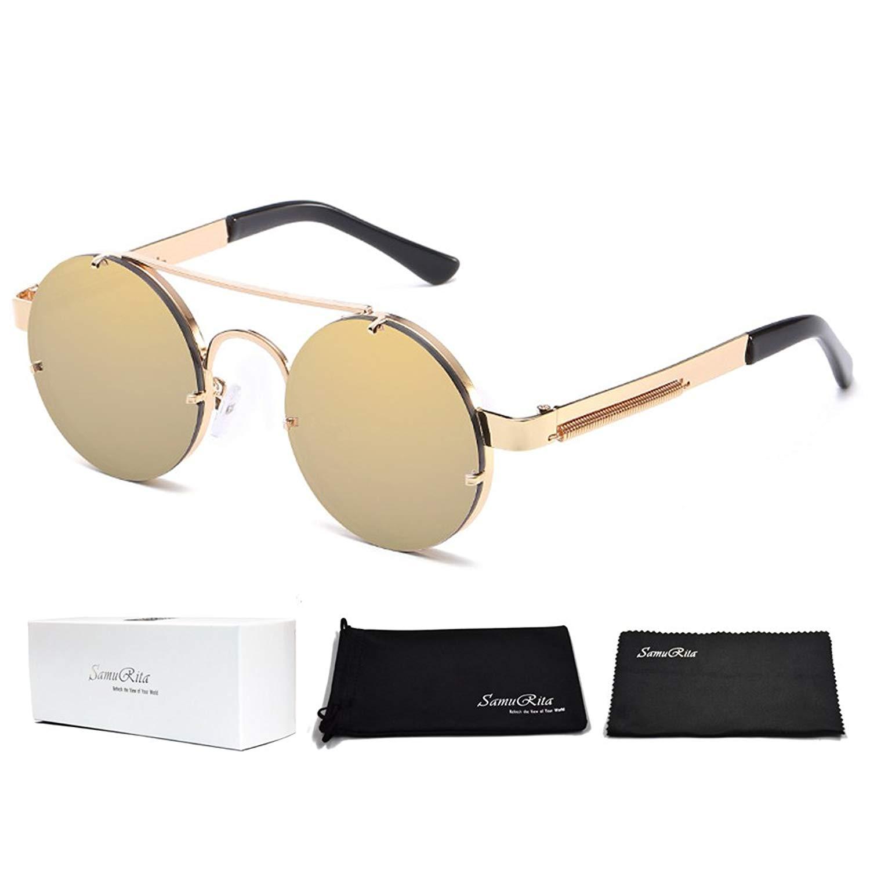 da35df80da60f Get Quotations · SamuRita Spring Temple Rimless Oversized Punk Round  Sunglasses