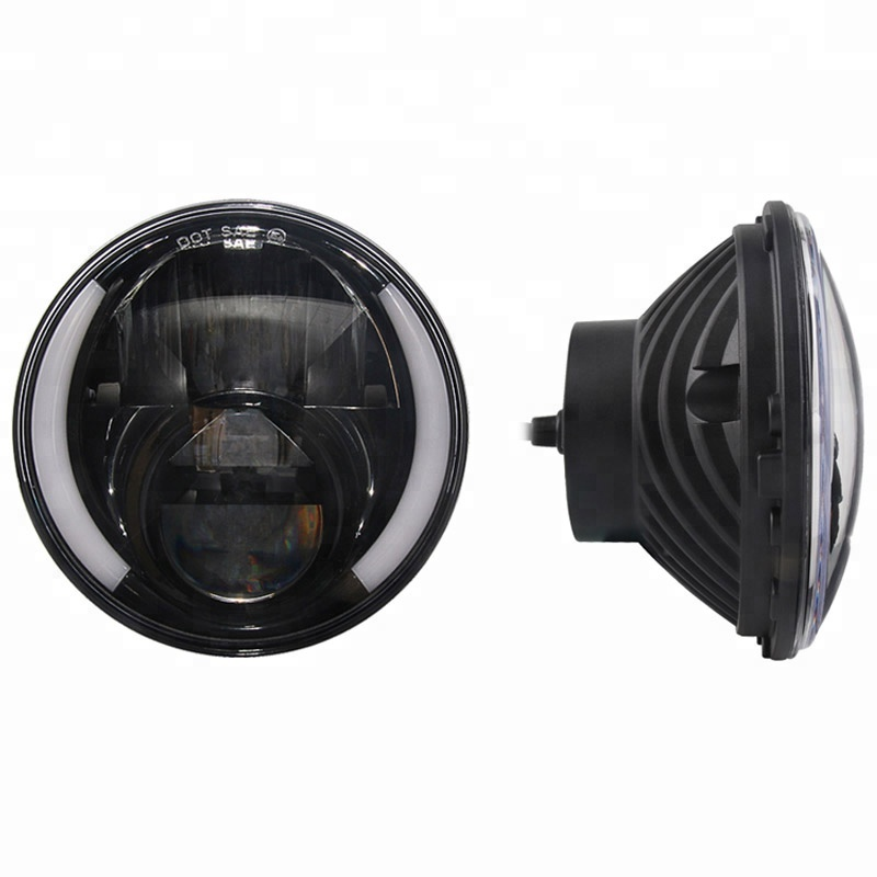 New product white+amber half halo 7inch led headlight