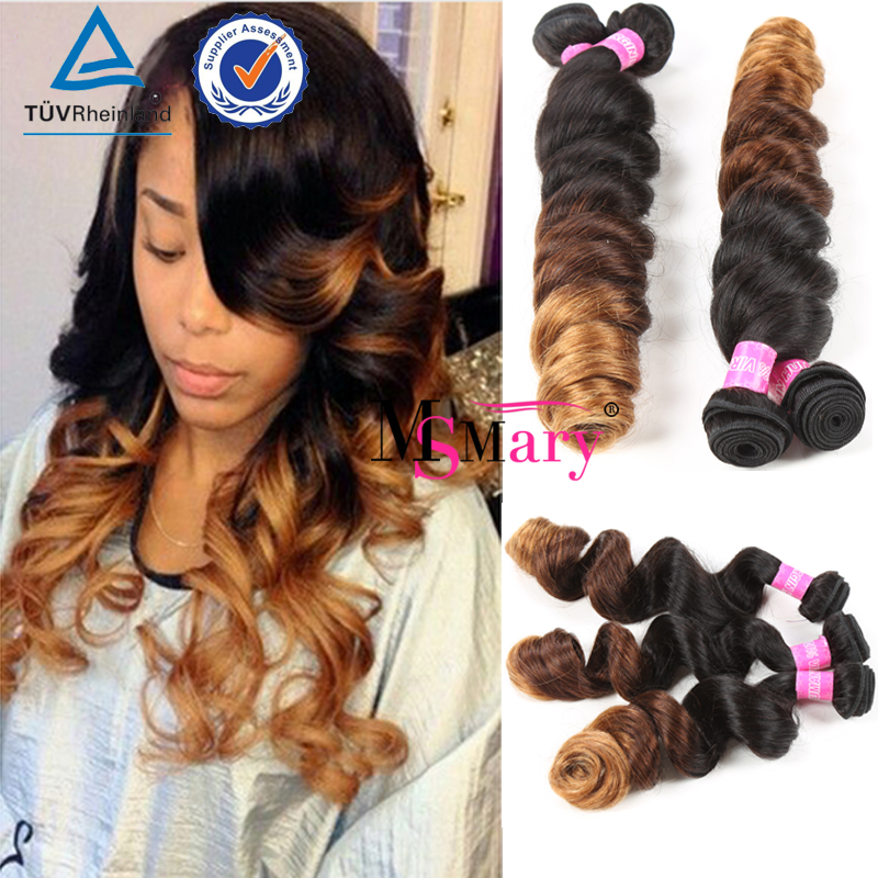 Brazilian Virgin Hair Loose Wave 3Pcs Natural <strong>Black</strong> And Ombre Loose Wave Short Hair Weave