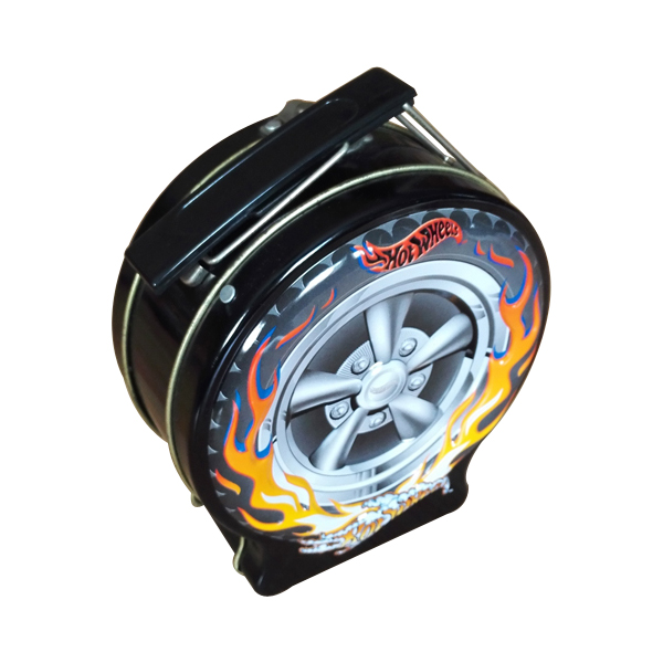 car wheel shape round tin lunch box