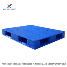 Heavy duty large stackable flat Tian word double faced HDPE plastic pallet with optional 8 steel pipes reinforced for sale