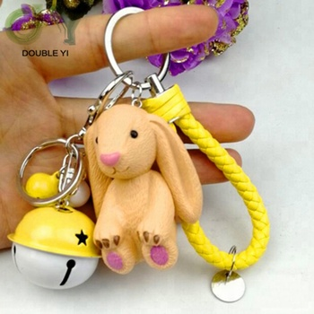 Custom new big ears rabbit keychain PU braiding rope bell ladies bag pendant keyring