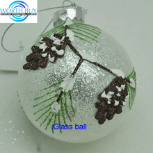 Frosted silver Christmas ball glass ornament w/ raised pick from Shenzhen factory