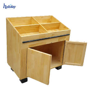 China supplier high quality apple store wood display table with 4 legs wood fruit display rack