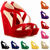 2016 high-heeled fish mouth sandals suede wedge shoes