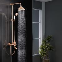 Factory price European style brass rose gold rain bathroom shower mixer bath faucet set