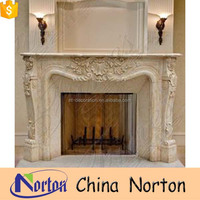 French yellow stone cultured marble fireplace surround NTMF-F006Y