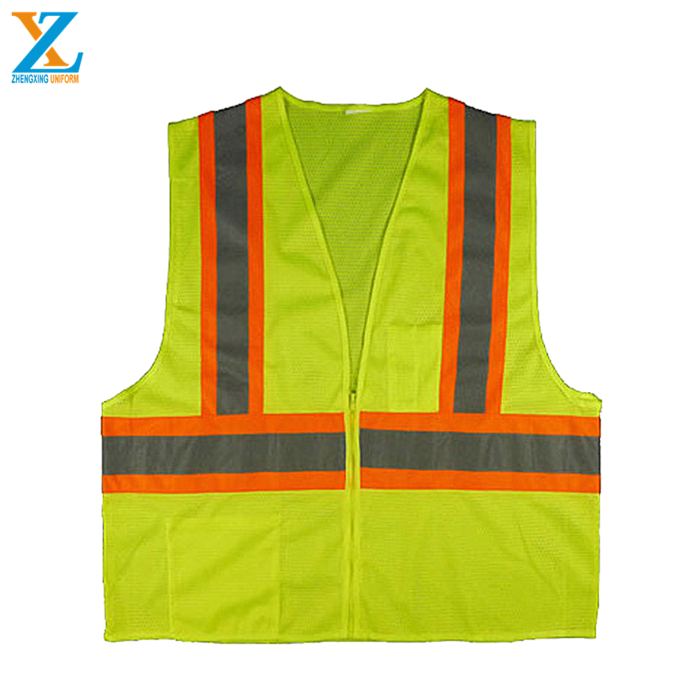 High visibility reflective <strong>orange</strong> safety <strong>vest</strong>