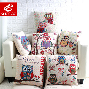 45X45CM ANIMAL DREAMS OWL COTTON LINEN CUSHION