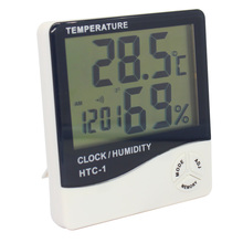 HTC-1 Digital LCD Temperatur Feuchte Wand Uhr Thermometer Hygrometer